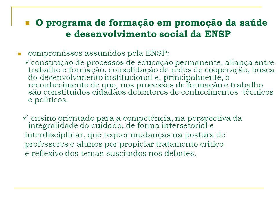 O programa de formação em promoção da saúde e desenvolvimento social da ENSP compromissos assumidos pela ENSP: construção de processos de educação per