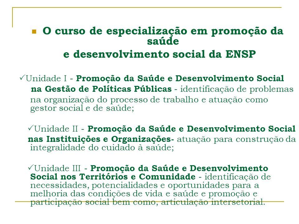 O curso de especialização em promoção da saúde e desenvolvimento social da ENSP Unidade I - Promoção da Saúde e Desenvolvimento Social na Gestão de Po