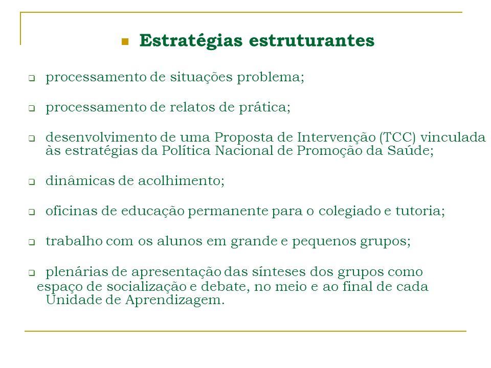 Estratégias estruturantes processamento de situações problema; processamento de relatos de prática; desenvolvimento de uma Proposta de Intervenção (TC