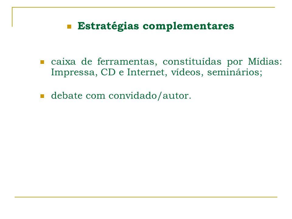 Estratégias complementares caixa de ferramentas, constituídas por Mídias: Impressa, CD e Internet, vídeos, seminários; debate com convidado/autor.
