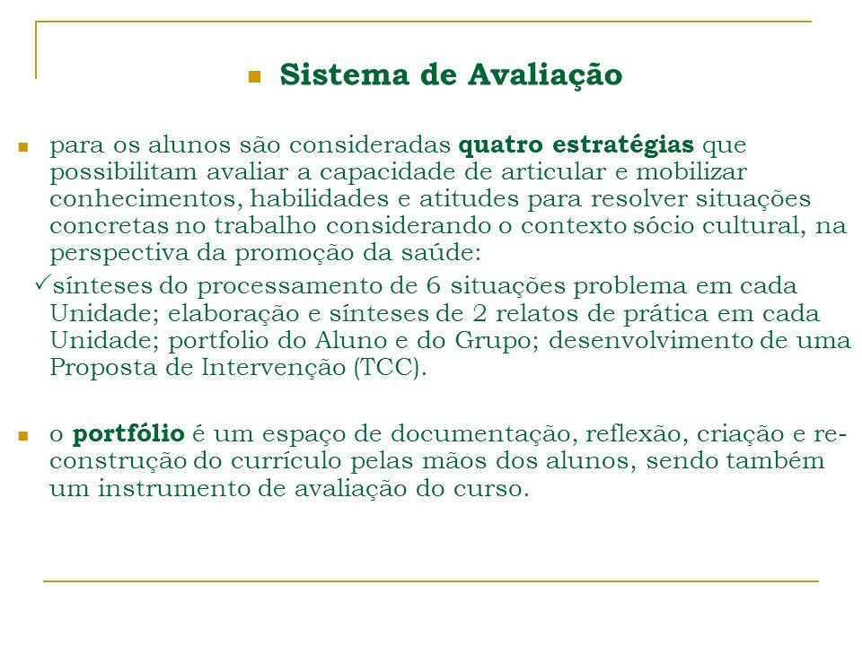 Sistema de Avaliação para os alunos são consideradas quatro estratégias que possibilitam avaliar a capacidade de articular e mobilizar conhecimentos,