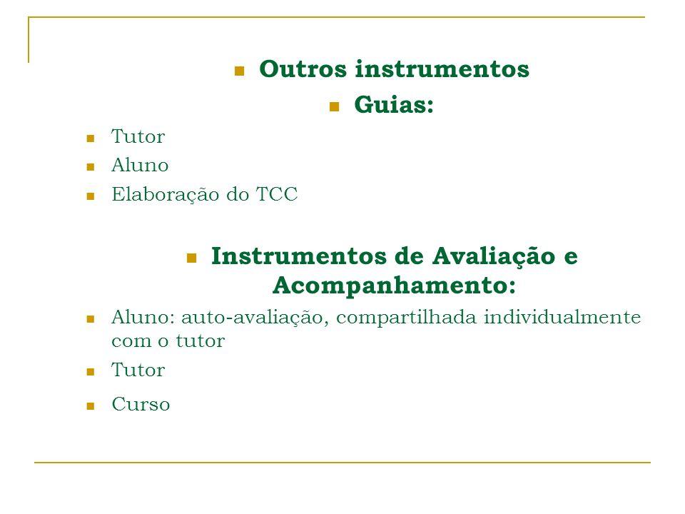 Outros instrumentos Guias: Tutor Aluno Elaboração do TCC Instrumentos de Avaliação e Acompanhamento: Aluno: auto-avaliação, compartilhada individualme