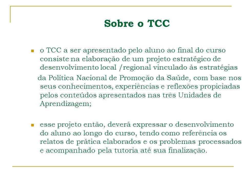 Sobre o TCC o TCC a ser apresentado pelo aluno ao final do curso consiste na elaboração de um projeto estratégico de desenvolvimento local /regional v