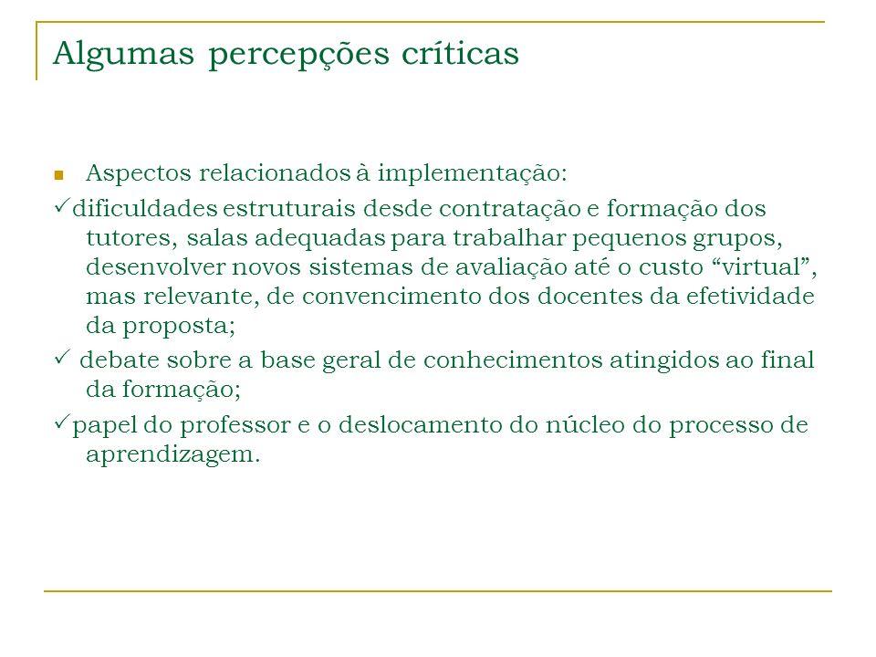 Algumas percepções críticas Aspectos relacionados à implementação: dificuldades estruturais desde contratação e formação dos tutores, salas adequadas