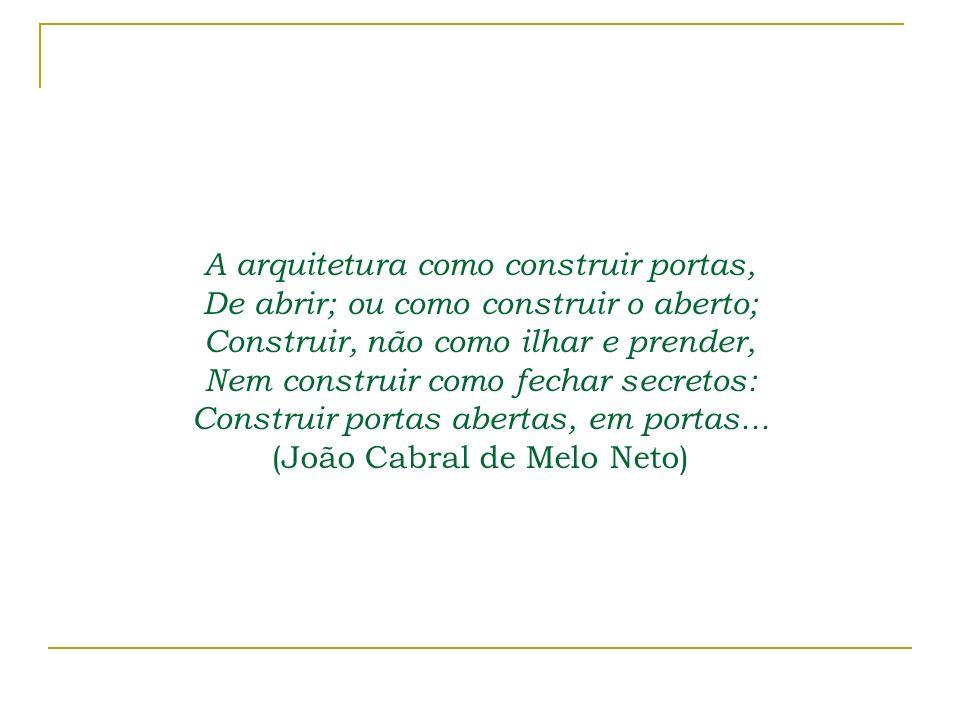 A arquitetura como construir portas, De abrir; ou como construir o aberto; Construir, não como ilhar e prender, Nem construir como fechar secretos: Co