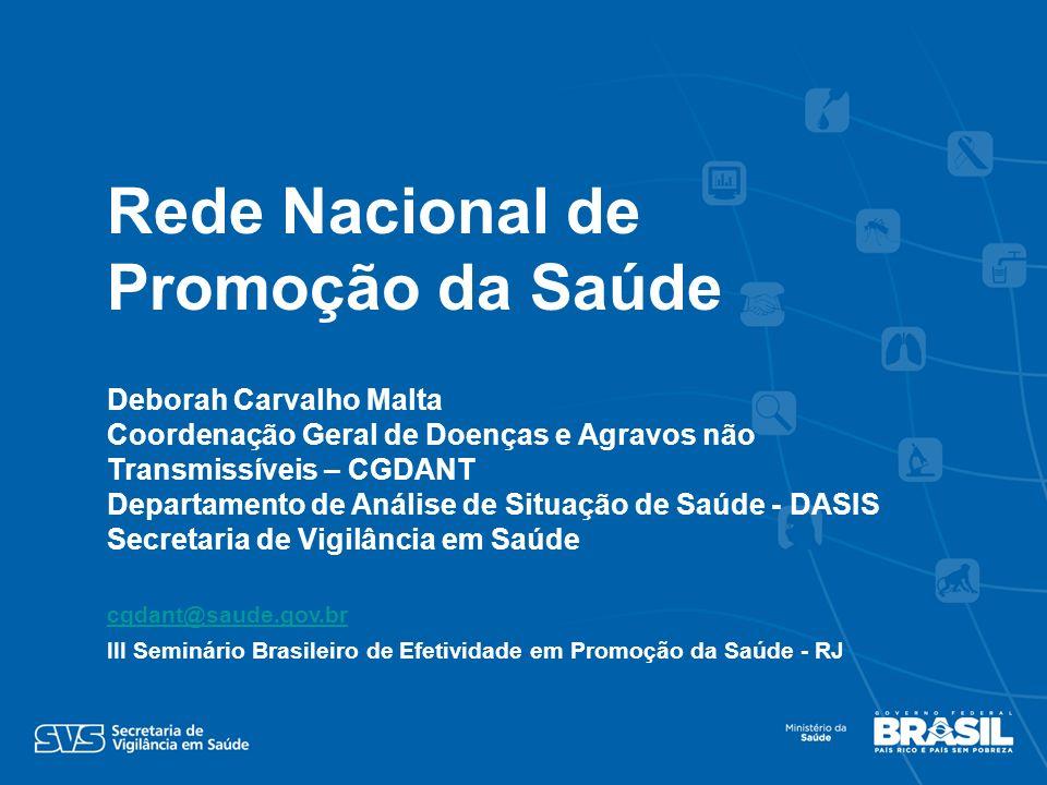 Deborah Carvalho Malta Coordenação Geral de Doenças e Agravos não Transmissíveis – CGDANT Departamento de Análise de Situação de Saúde - DASIS Secreta