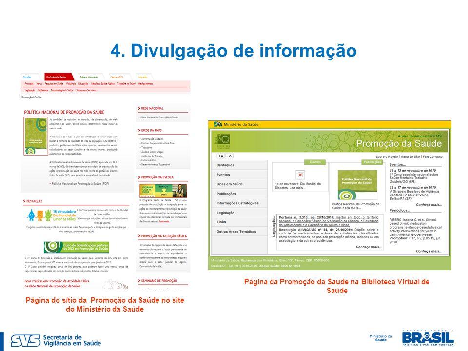 4. Divulgação de informação Página da Promoção da Saúde na Biblioteca Virtual de Saúde Página do sítio da Promoção da Saúde no site do Ministério da S