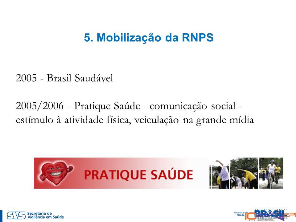 5. Mobilização da RNPS 2005 - Brasil Saudável 2005/2006 - Pratique Saúde - comunicação social - estímulo à atividade física, veiculação na grande mídi