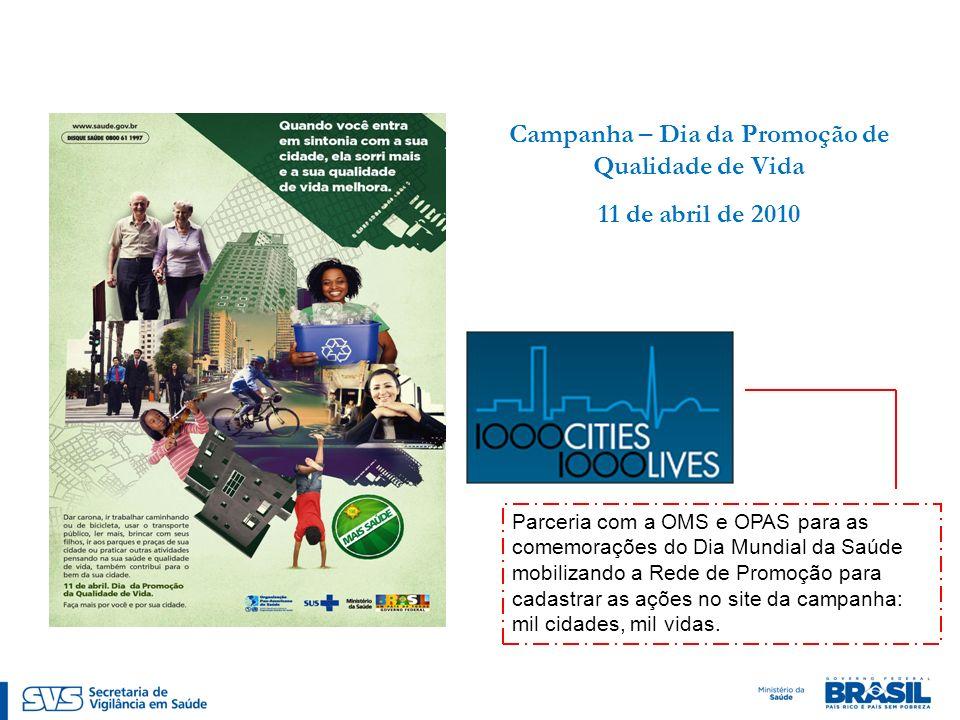 Campanha – Dia da Promoção de Qualidade de Vida 11 de abril de 2010 Parceria com a OMS e OPAS para as comemorações do Dia Mundial da Saúde mobilizando