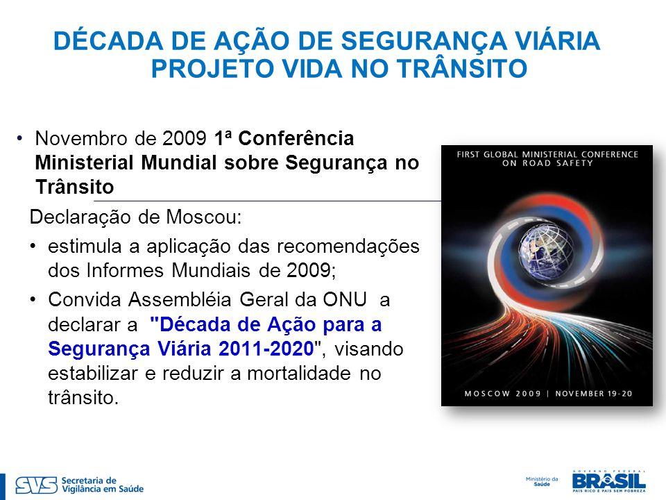 DÉCADA DE AÇÃO DE SEGURANÇA VIÁRIA PROJETO VIDA NO TRÂNSITO Novembro de 2009 1ª Conferência Ministerial Mundial sobre Segurança no Trânsito Declaração