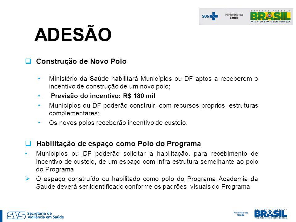 ADESÃO Construção de Novo Polo Ministério da Saúde habilitará Municípios ou DF aptos a receberem o incentivo de construção de um novo polo; Previsão d
