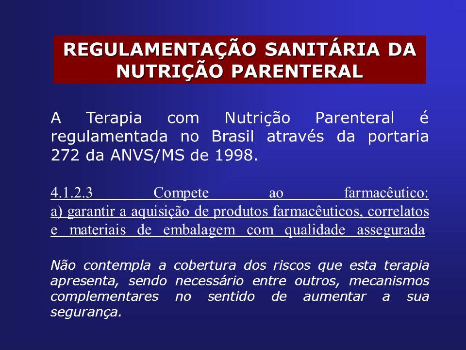 REGULAMENTAÇÃO SANITÁRIA DA NUTRIÇÃO PARENTERAL A Terapia com Nutrição Parenteral é regulamentada no Brasil através da portaria 272 da ANVS/MS de 1998