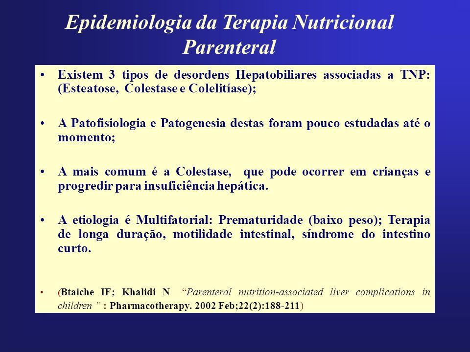 Epidemiologia da Terapia Nutricional Parenteral Existem 3 tipos de desordens Hepatobiliares associadas a TNP: (Esteatose, Colestase e Colelitíase); A
