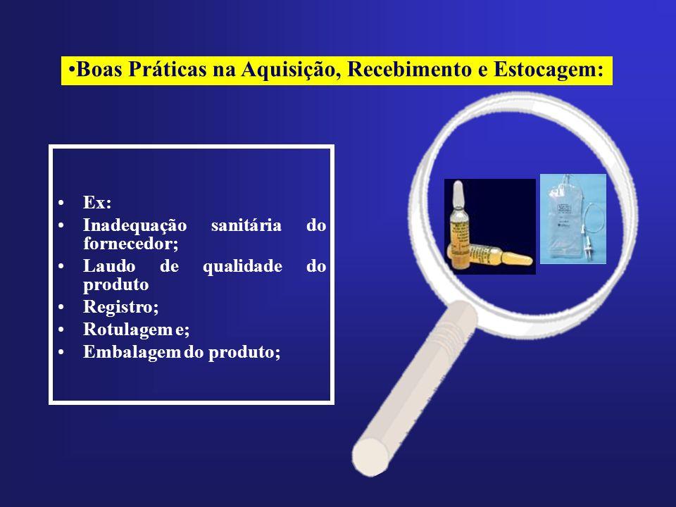 Ex: Inadequação sanitária do fornecedor; Laudo de qualidade do produto Registro; Rotulagem e; Embalagem do produto; Boas Práticas na Aquisição, Recebi