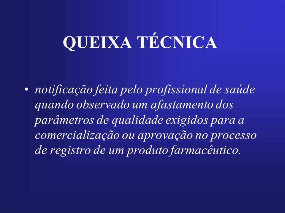 QUEIXA TÉCNICA notificação feita pelo profissional de saúde quando observado um afastamento dos parâmetros de qualidade exigidos para a comercializaçã