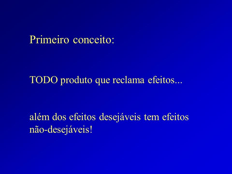Primeiro conceito: TODO produto que reclama efeitos... além dos efeitos desejáveis tem efeitos não-desejáveis!
