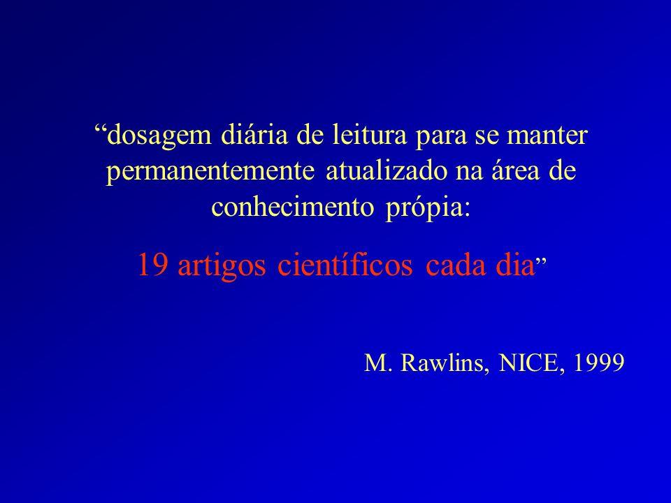 dosagem diária de leitura para se manter permanentemente atualizado na área de conhecimento própia: 19 artigos científicos cada dia M. Rawlins, NICE,