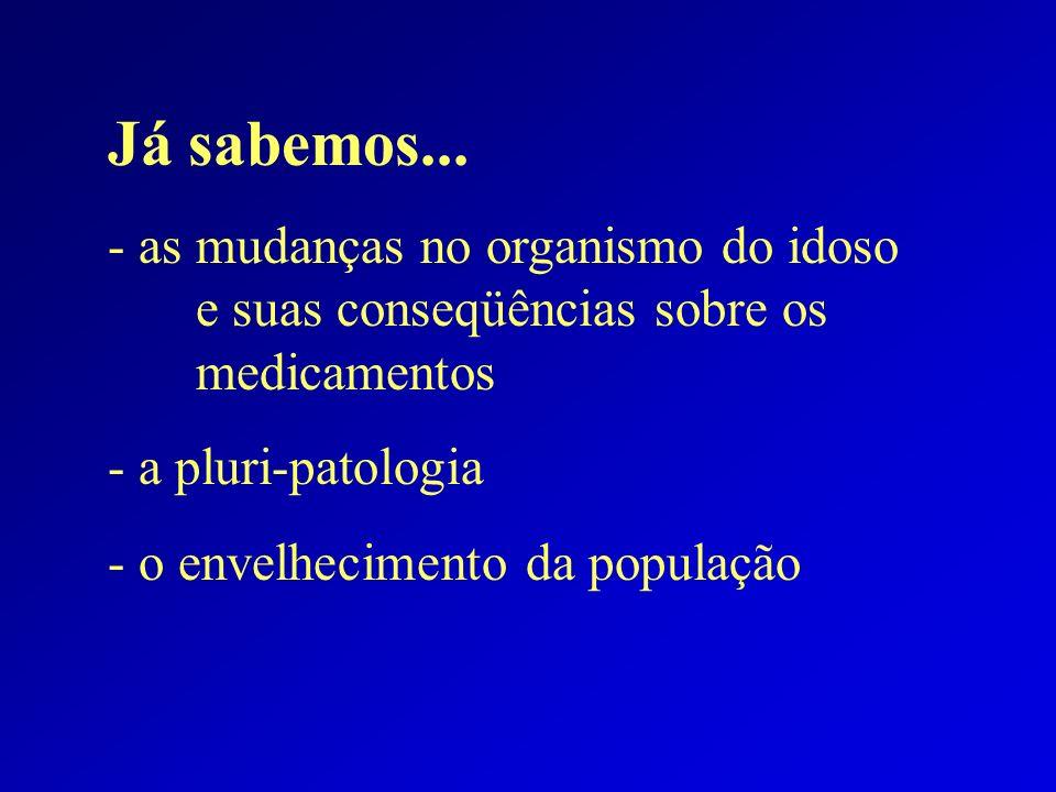 Já sabemos... - as mudanças no organismo do idoso e suas conseqüências sobre os medicamentos - a pluri-patologia - o envelhecimento da população