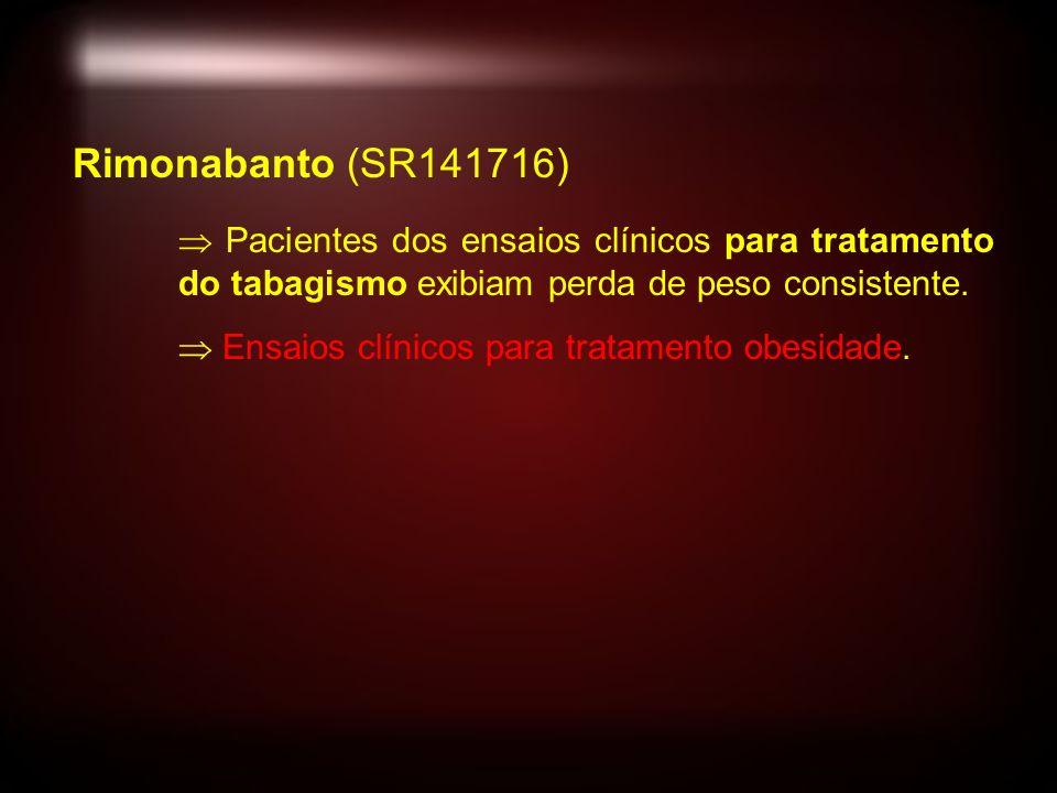 Rimonabanto (SR141716) Pacientes dos ensaios clínicos para tratamento do tabagismo exibiam perda de peso consistente.