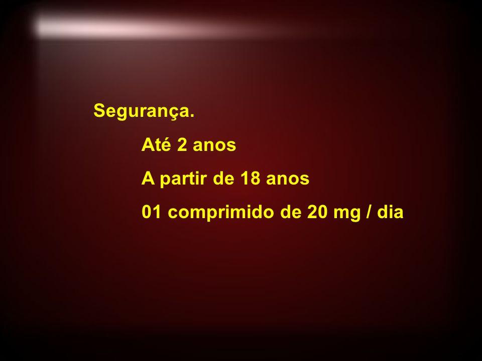 Segurança. Até 2 anos A partir de 18 anos 01 comprimido de 20 mg / dia