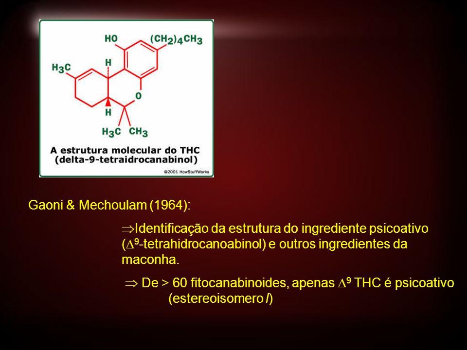 Gaoni & Mechoulam (1964): Identificação da estrutura do ingrediente psicoativo ( 9 -tetrahidrocanoabinol) e outros ingredientes da maconha. De > 60 fi