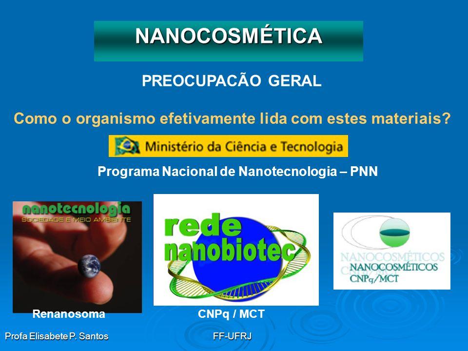 Profa Elisabete P. SantosFF-UFRJ PREOCUPACÃO GERAL Como o organismo efetivamente lida com estes materiais? NANOCOSMÉTICA CNPq / MCTRenanosoma Programa