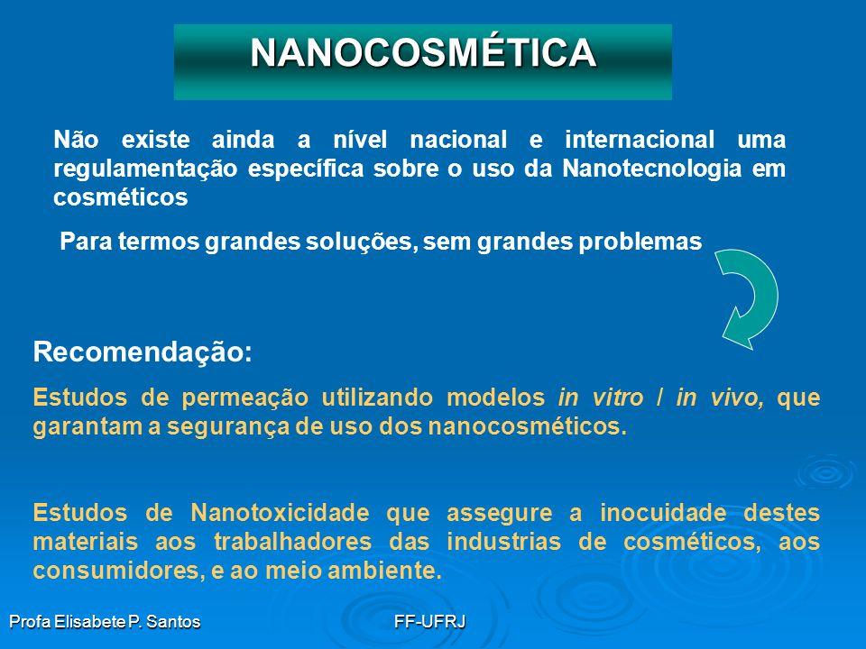 Profa Elisabete P. SantosFF-UFRJ NANOCOSMÉTICA Não existe ainda a nível nacional e internacional uma regulamentação específica sobre o uso da Nanotecn