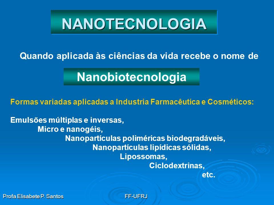 NANOTECNOLOGIANANOTECNOLOGIA Nanopartículas podem ser divididas em dois grupo: Nanopartículas lábeis – desintegram-se quando aplicadas sobre a pele Ex: lipossomas, microemulsões, nanoemulsões Nanopartículas insolúveis – Ex: TiO2, fulerenos Manipulação da matéria em escala nanométrica ( 0,1 a 100 nm)
