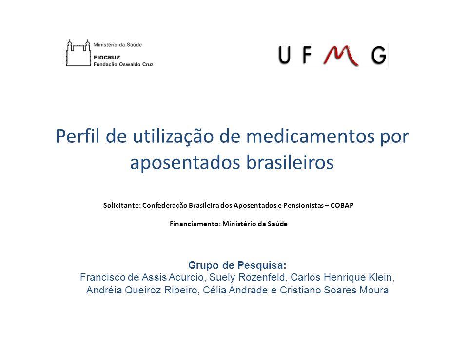 Perfil de utilização de medicamentos por aposentados brasileiros Tipo de medicamentos usados Concentraram-se nos seguintes grupos anatômico- terapêuticos (ATC): Cardiovascular Trato alimentar e metabolismo Sistema nervoso Sangue Sistema músculo esquelético
