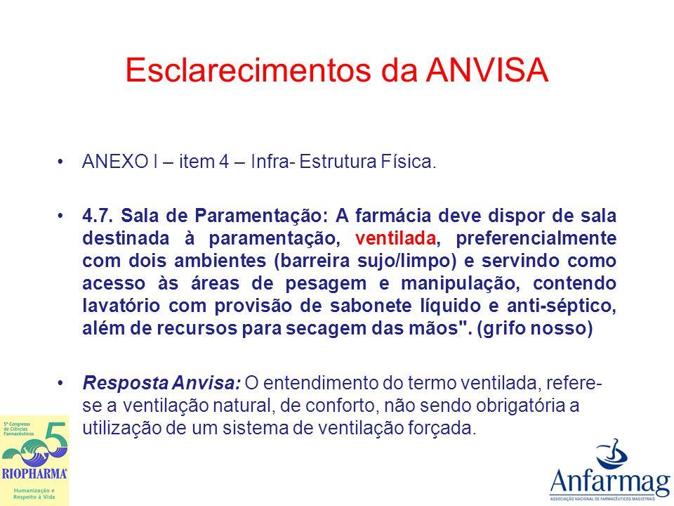 Esclarecimentos da ANVISA ANEXO I – item 9.2 – Monitoramento do Processo Magistral.