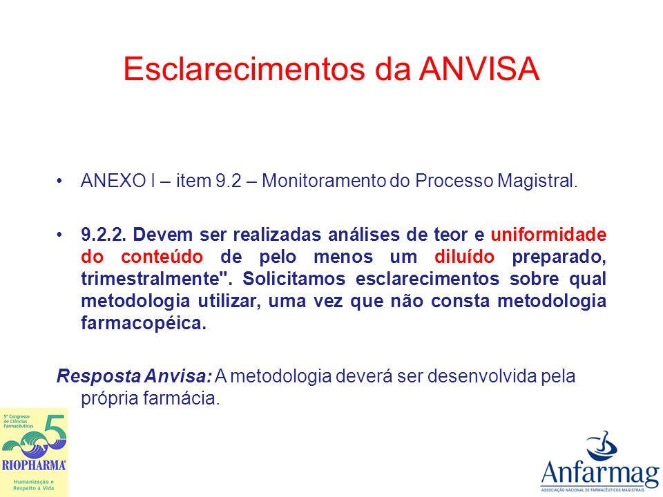 Esclarecimentos da ANVISA Anexo III - Item 2.CONDIÇÕES GERAIS 2.14.
