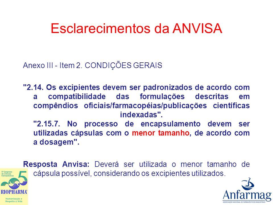 Esclarecimentos da ANVISA Anexo III - Item 2. CONDIÇÕES GERAIS
