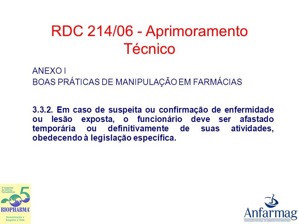 ANEXO I BOAS PRÁTICAS DE MANIPULAÇÃO EM FARMÁCIAS 3.3.2. Em caso de suspeita ou confirmação de enfermidade ou lesão exposta, o funcionário deve ser af