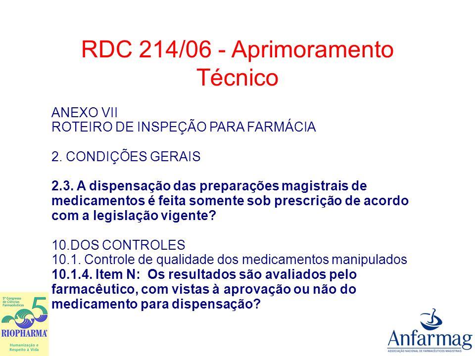 RDC 214/06 - Aprimoramento Técnico 11.6.Controle de Qualidade do Estoque Mínimo 11.6.6.