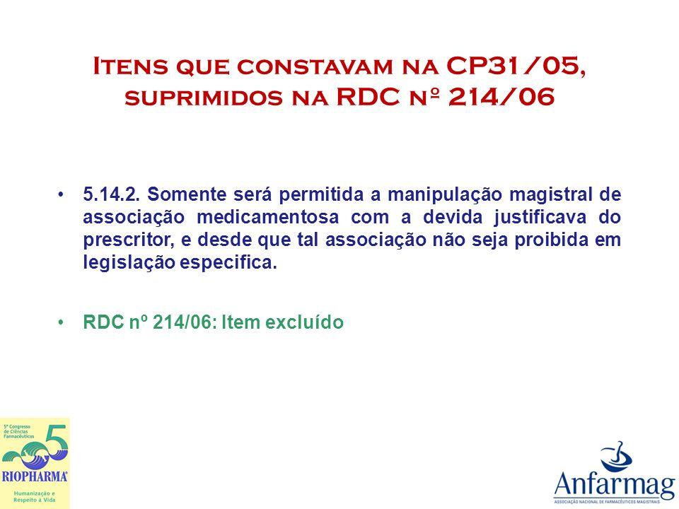 Itens que constavam na CP31/05, suprimidos na RDC nº 214/06 5.14.