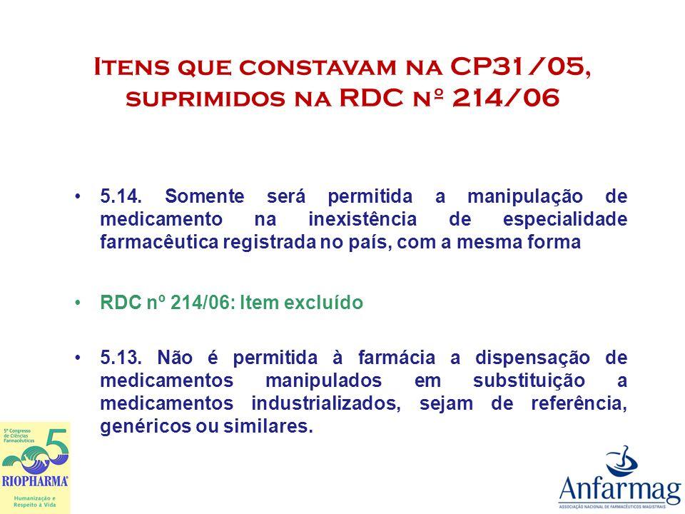 Itens que constavam na CP31/05, suprimidos na RDC nº 214/06 5.20.2.