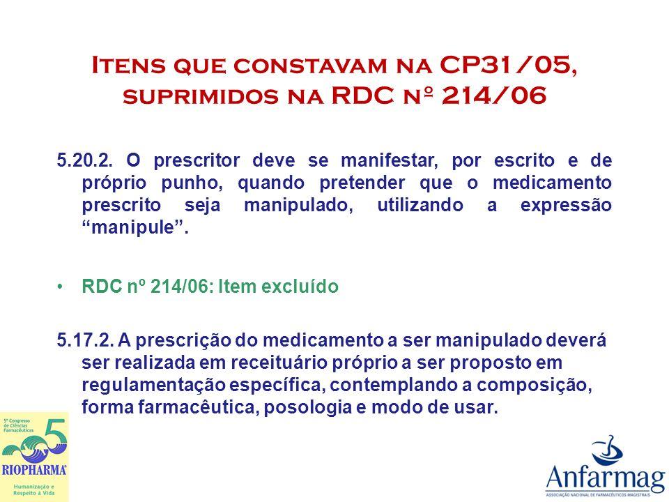 Itens que constavam na CP31/05, suprimidos na RDC nº 214/06 2.4.