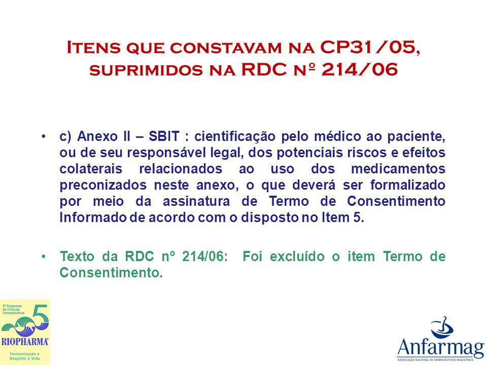 Itens que constavam na CP31/05, suprimidos na RDC nº 214/06 Anexo III : 2.8.As farmácias devem possuir área de manipulação dedicada ou local isolado para a manipulação das classes terapêuticas constantes deste Anexo, com sistemas de exaustão com eficiência comprovada.
