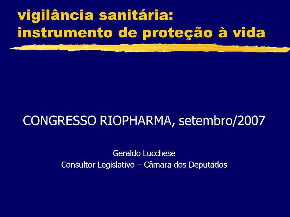 vigilância sanitária: instrumento de proteção à vida CONGRESSO RIOPHARMA, setembro/2007 Geraldo Lucchese Consultor Legislativo – Câmara dos Deputados
