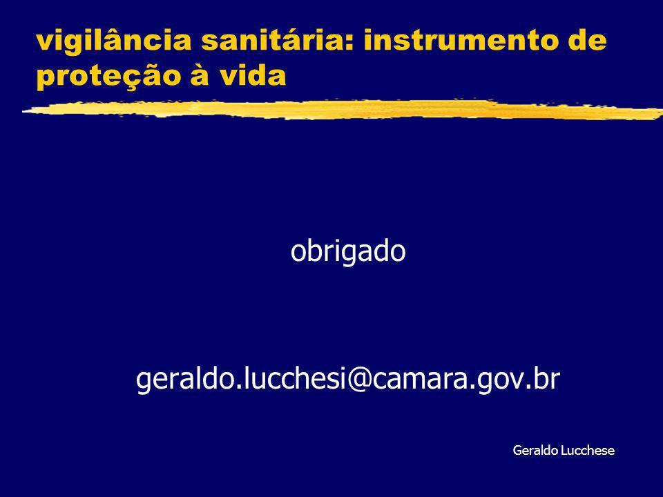 vigilância sanitária: instrumento de proteção à vida obrigado geraldo.lucchesi@camara.gov.br Geraldo Lucchese
