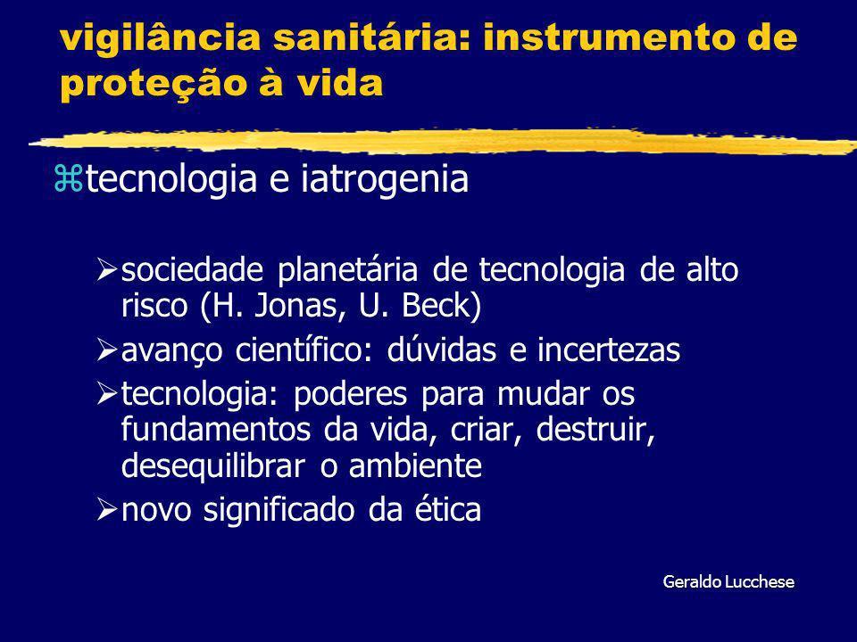 vigilância sanitária: instrumento de proteção à vida ztecnologia e iatrogenia sociedade planetária de tecnologia de alto risco (H.