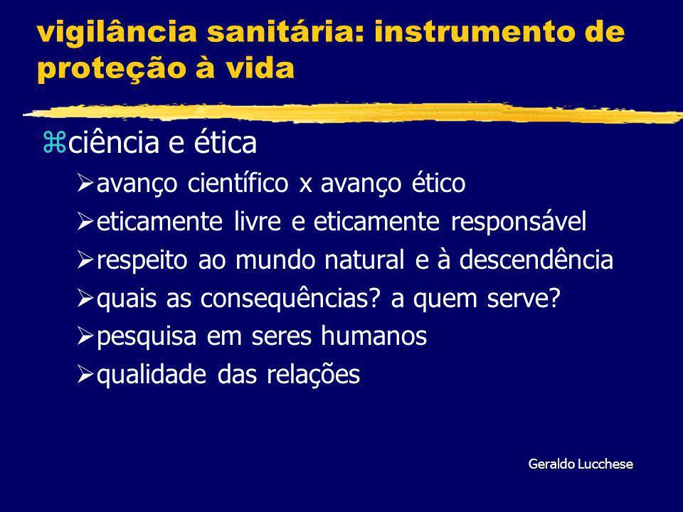 vigilância sanitária: instrumento de proteção à vida zciência e ética avanço científico x avanço ético eticamente livre e eticamente responsável respeito ao mundo natural e à descendência quais as consequências.