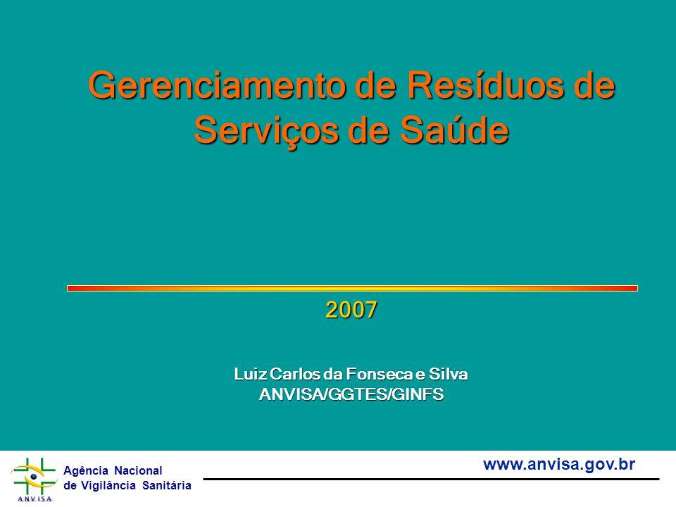 Agência Nacional de Vigilância Sanitária www.anvisa.gov.br Gerenciamento de Resíduos de Serviços de Saúde 2007 Luiz Carlos da Fonseca e Silva ANVISA/G