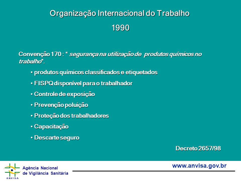 Agência Nacional de Vigilância Sanitária www.anvisa.gov.br Organização Internacional do Trabalho 1990 1990 Convenção 170 : segurança na utilização de