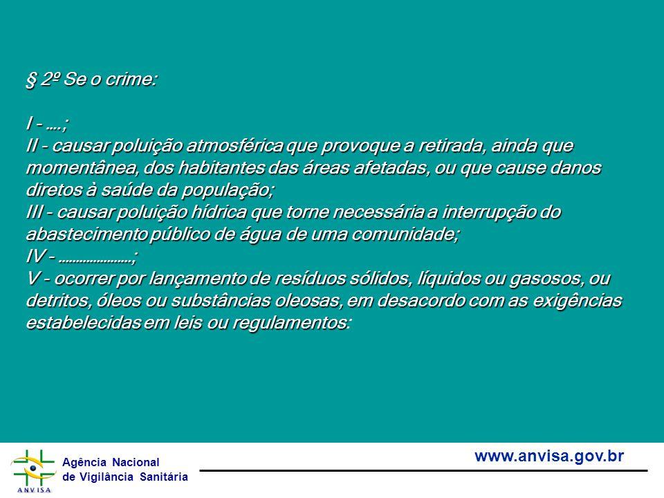 Agência Nacional de Vigilância Sanitária www.anvisa.gov.br § 2º Se o crime: § 2º Se o crime: I - ….; I - ….; II - causar poluição atmosférica que prov