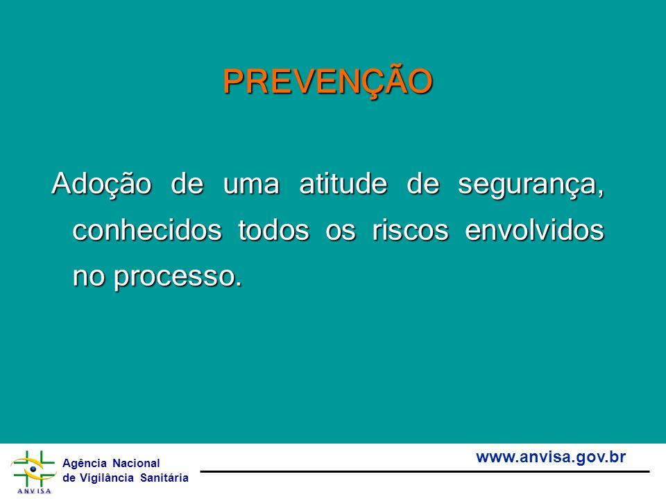 Agência Nacional de Vigilância Sanitária www.anvisa.gov.br PREVENÇÃO Adoção de uma atitude de segurança, conhecidos todos os riscos envolvidos no proc