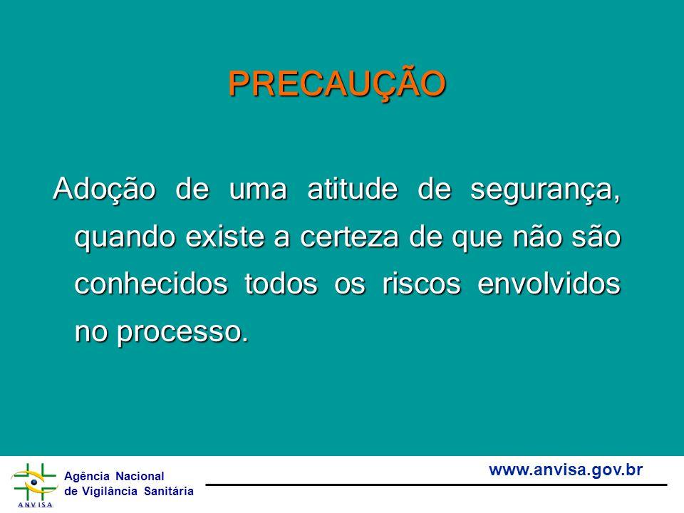 Agência Nacional de Vigilância Sanitária www.anvisa.gov.br PRECAUÇÃO Adoção de uma atitude de segurança, quando existe a certeza de que não são conhec