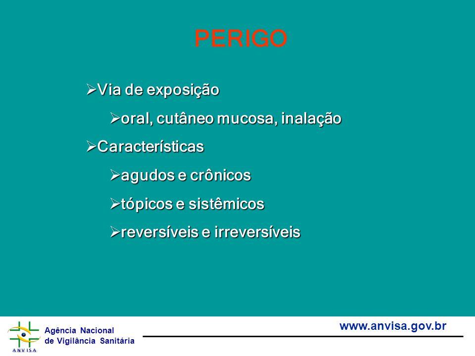 Agência Nacional de Vigilância Sanitária www.anvisa.gov.br PERIGO Via de exposição Via de exposição oral, cutâneo mucosa, inalação oral, cutâneo mucos