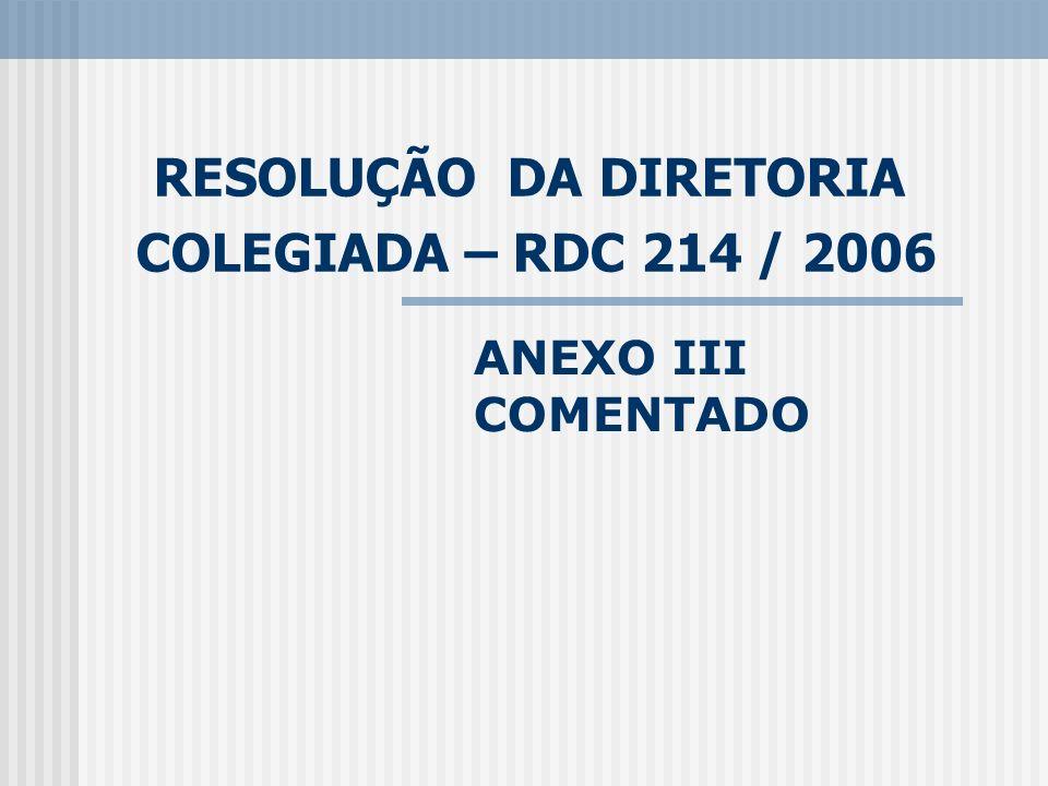 RESOLUÇÃO DA DIRETORIA COLEGIADA – RDC 214 / 2006 ANEXO III COMENTADO