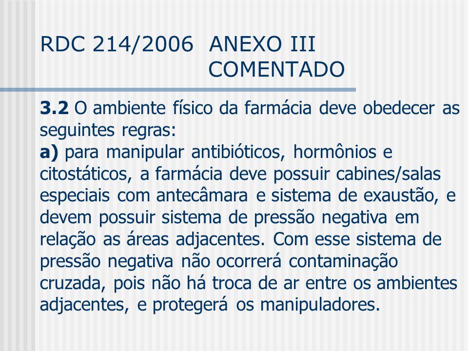 RDC 214/2006 ANEXO III COMENTADO 3.2 O ambiente físico da farmácia deve obedecer as seguintes regras: a) para manipular antibióticos, hormônios e citostáticos, a farmácia deve possuir cabines/salas especiais com antecâmara e sistema de exaustão, e devem possuir sistema de pressão negativa em relação as áreas adjacentes.